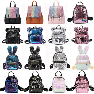 a6a030ecdd6 Image is loading Women-Girls-Sequins-Backpack-Satchel-School-Bag-Travel-