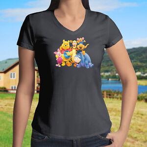 Winnie the Pooh Piglet Tigger Eeyore Roo Womens Juniors Girls V-Neck ... c13565c04c