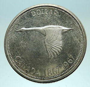 1967-CANADA-CANADIAN-Confederation-Founding-Silver-Dollar-Coin-w-GOOSE-i76106