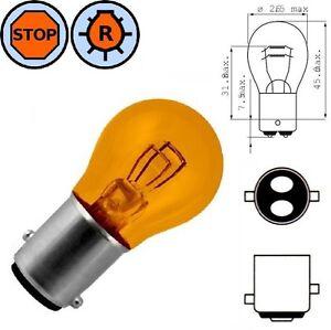 Lampadina 12v 21 5w Bay15d Arancione Coda Stop Auto Sfera Lampada Luce Freno Ebay