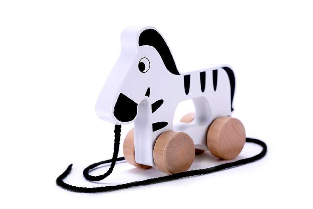 Zebra Wooden Pull Along Toy for Baby & Toddler - Developmental Toy Boy / Girl