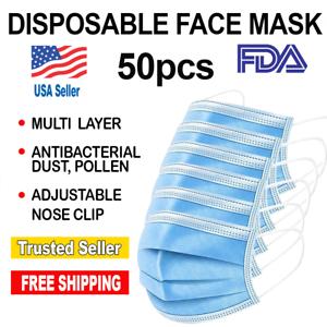 50 PC-Face Mask Mouth & Nose Protector Respirator Masks - Blue- FDA Registered