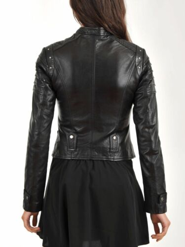 Cappotto motociclista agnello in da nero vera di donna vera da con pelliccia pelle pnq7prAw