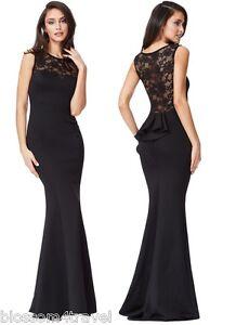 Goddiva-Black-Lace-Frill-Fishtail-Maxi-Evening-Dress-Prom-Ball-Party-RRP-62