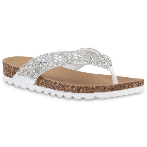 Damen Sandalen Zehentrenner Strass Korkoptik Profil Sohle Schuhe 830687 Trendy