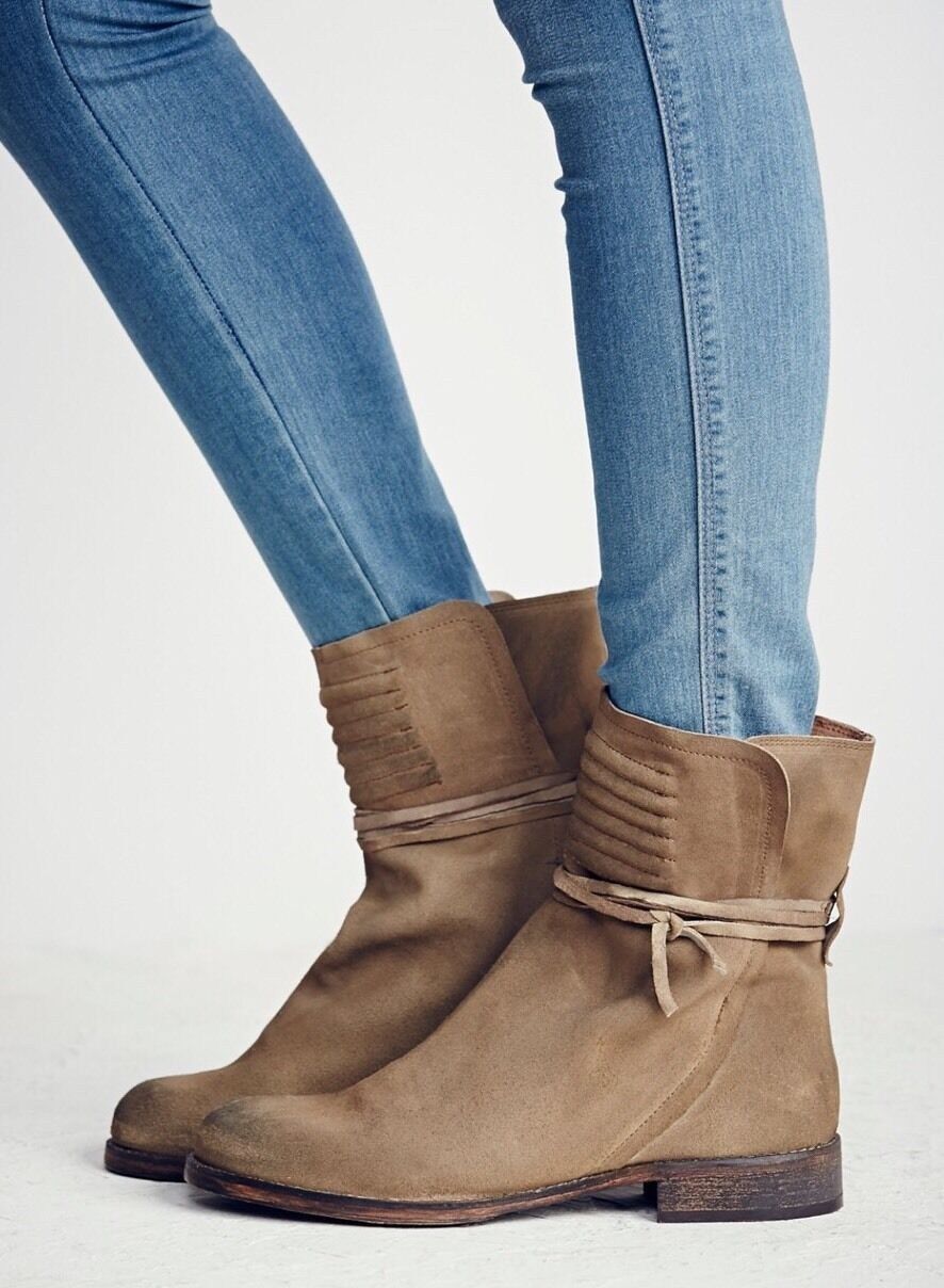 NEW Free People Cambridge Wrapped Tan Distressed Leather Boots Size 36