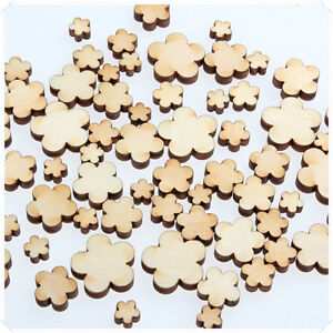 50pcs-Wooden-Craft-Wood-Flowers-5-Petal-Craft-Card-Making-Scrapbooking-New