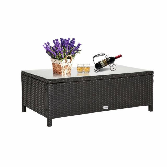 Rectangle Garden Rattan Wicker Gl Coffee Table Tea Outdoor Furniture