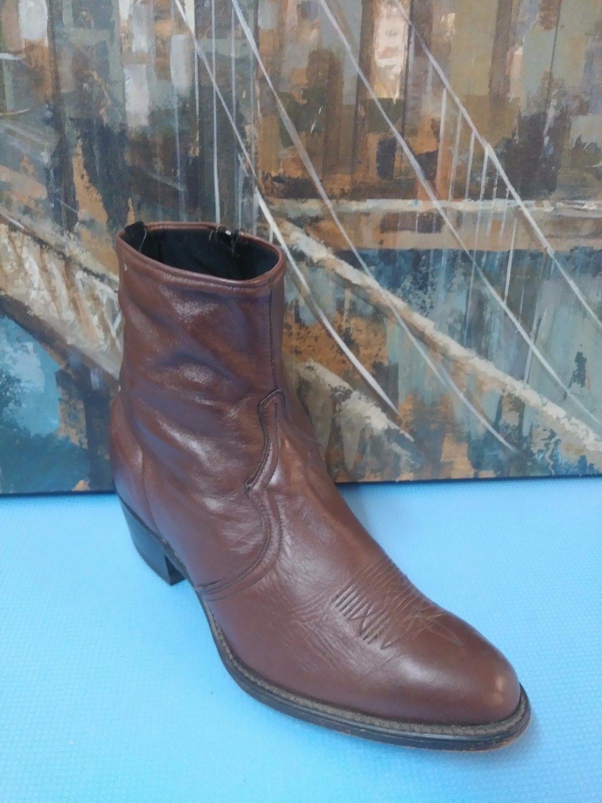 Uomo Pelle 6084 Zip Dress Ankle Stivali Uomo Size 9 EE Brown