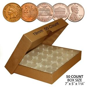 PENNY-Direct-Fit-Airtight-A19-MM-Coin-Capsule-Holders-For-PENNIES-QTY-50-w-BOX