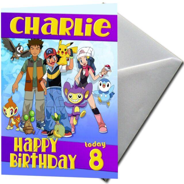 POKEMON ASH KETCHUM Personalised Birthday Card FREE Shipping