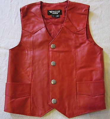 TODDLER KIDS SOFT RED LEATHER BIKER MOTORCYCLE WESTERN COWGIRL VEST SMALL