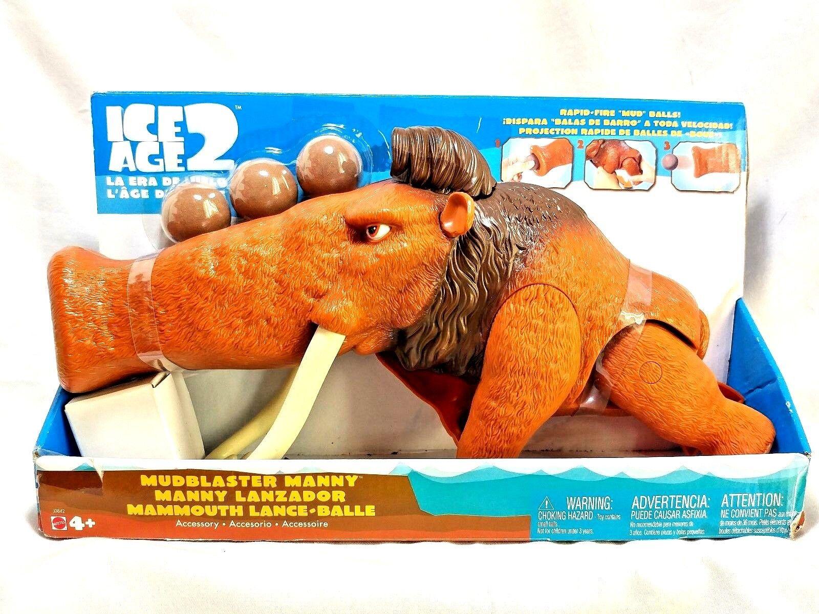 Mattel 2005 Ice Age 2 Mudbalster Manny Mammoth w  Rapid Fire Mud Balls Figure