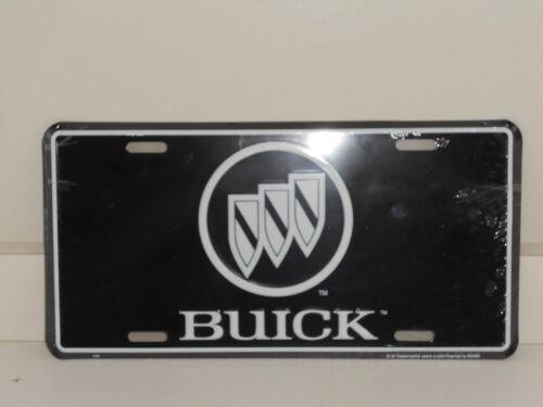 BUICK TRI-SHEILD LOGO ALUMINUM LICENSE PLATE  BLACK  /& WHITE  MADE IN USA REGAL