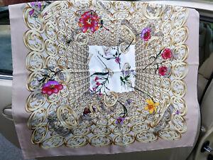 GUCCI-GG-Vintage-Monogram-Rings-Gold-Floral-Silk-Shawl-Scarf-Wrap-Womens