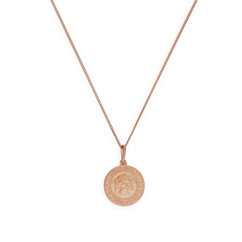 Rose Gold Plated Sterling Silver Saint Christopher Medal on Chain 14-32 Inches