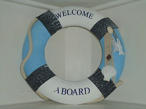 Lifebelt-Welcome-Aboard-Blue-White-Ship-Boat-maritime-Life-Buoy-Ring-Belt