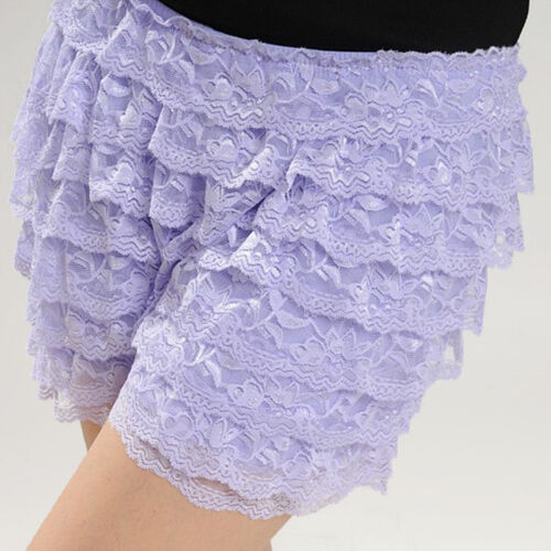 Lady Frilly Tiered Lace Mesh Safety Shorts Knickers Panty Ruffle Underpants Soft