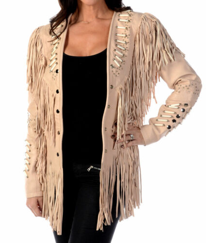 Women Western Suede Leather Wear Cow-Lady Fringe Vintage Long Coat Jacket