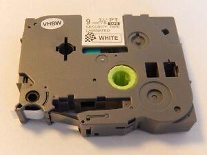 CASSETTA NASTRO 9mm N/B sicurezza VHBW per Brother P-Touch 1000 1010 1080