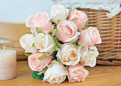 Artificial Silk Roses Posy Wedding Bridesmaid Bouquets Home Party Decor Flowers