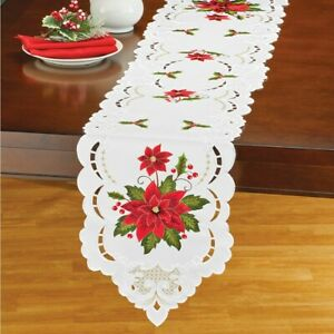 Delicate Poinsettia Embroidered Christmas Polyester Table Runner