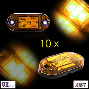 Ten-12-24v-Led-Amber-Orange-Side-Marker-Lights-Indicator-Trailer-Truck-Lorry-Van