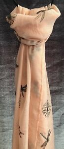 BEAUTIFUL LADIES COTTON DRAGONFLY PATTERN LARGE SCARF SHAWL 70X180CM VERY LIGH