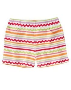 GYMBOREE PRETTY POSIES RIC RAC STRIPED PRINTED KNIT SHORTS 4 6 NWT