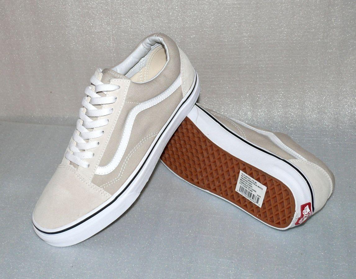 Vans OLD Skool Rau UP Leder Herren Schuhe Freizeit Sneaker 42 US9 Creme Weiß
