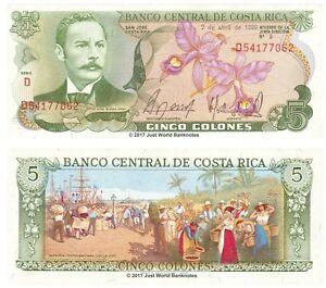 Costa-Rica-5-colones-P-236d-1986-Billetes-Unc