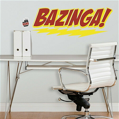 "/""BAZINGA/"" MURAL wall stickers 5 BIG decals dorm room decor quote BIG BANG THEORY"