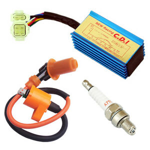 Racing-Ignition-Coil-Spark-Plug-CDI-GY6-50cc-125cc-150cc-Scooter-ATV-Moped