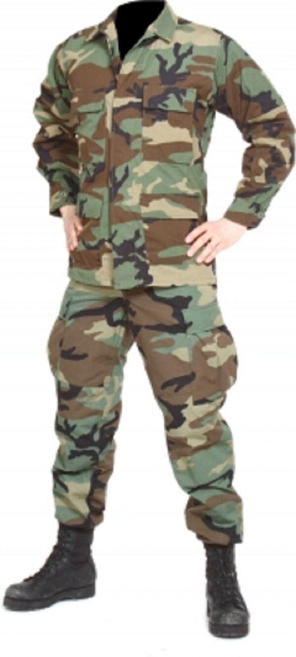 US Army Camouflage Pantaloni Giacca SHIRT TROUSERS BDU WOODLe Mimetico MEDIUM REG
