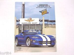 1996 Dodge Viper Gts Indy 500 Pace Car Color Sheet Sales Brochure Ebay