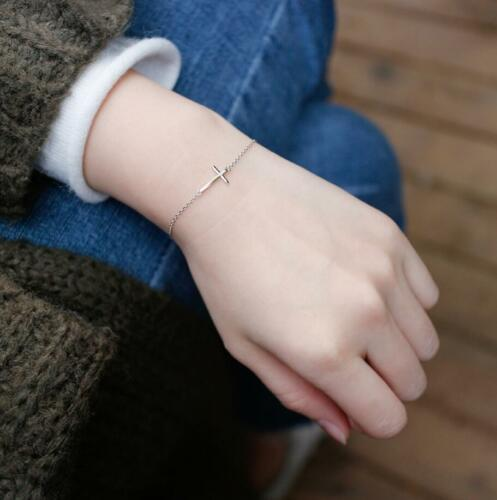 925 Argent Sterling Simple Sideways Croix Chaîne Bracelet Bracelet A2727