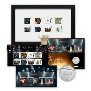 Queen Legends Presentation Pack. Framed stamps and BUNC £5 silver coin.