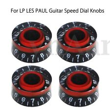 4pcs Black&Red Electronic Guitar Speed Dial Knobs Control Knobs For LP LES PAUL