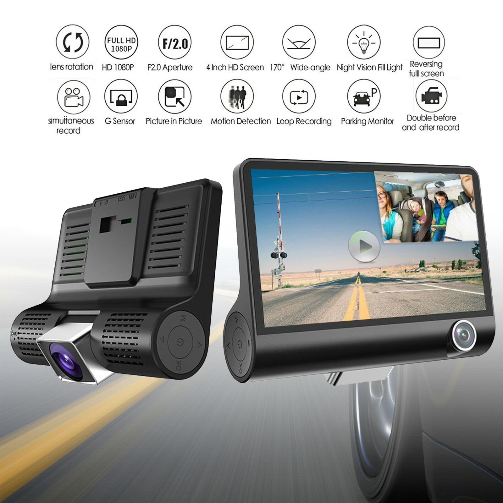 "s-l1600 4"" 1080P HD 170° 3 Lens Car DVR Dash Cam G-sensor Recorder + Rearview Camera"
