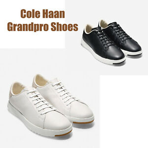 Men-Cole-Haan-GrandPro-Tennis-Shoes-Black-White-Leather-Sneakers-NEW