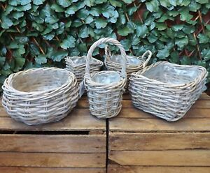 Details Zu Wooden Grey Woven Rattan Wicker Storage Fruit Egg Basket Planter Fully Lined