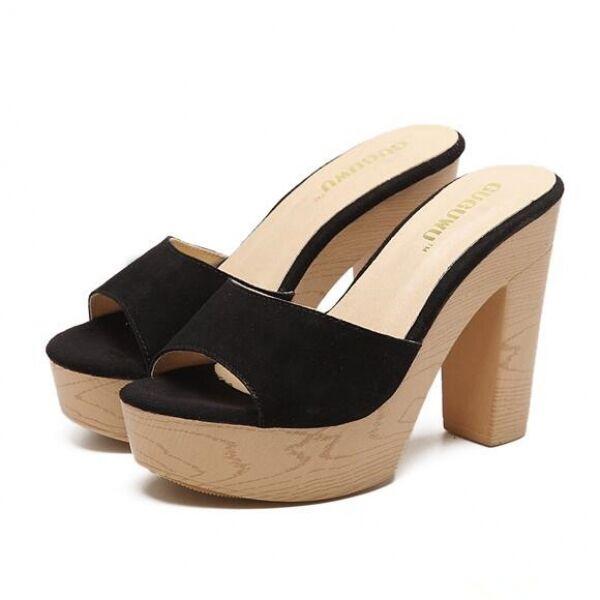 Sandalias de mujer zapatillas elegantes zuecos talón cuadrado 12 cm negro cómodo