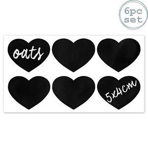 6x-Tafel-Etiketten-Glasglaeser-Aufkleber-Erhaltung-Lagerung-Herz-5cm-x-4cm