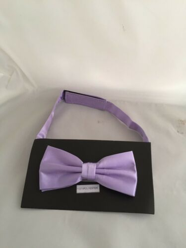 Lavender-Lilac Polyester Mens pre-tied Bow tie and Hanky Set/> P/&P 2UK />1st Class