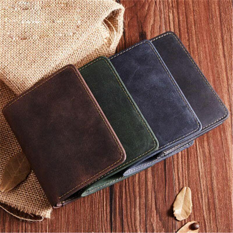 Cash Clip Billfold Bag Card&ID Holder Bag Men's Leather Wallet Card Clamps Purse