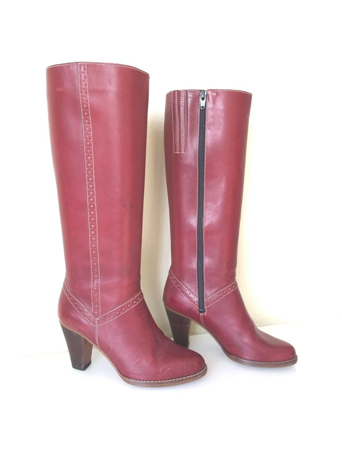 70s Tall Burgundy Leather Boots Boho Riding Thom McAn Made in Brazil  7