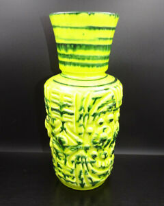 K731-Beautiful-70er-Years-1325-24-Ceramics-Vase-Table-Decor-Yellow-Green