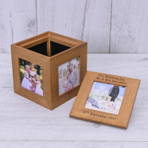Personnalisé De Chêne en Bois Photo Tout Texte Gravé Chêne PHOTO Mr /& Mrs Keepsake Box