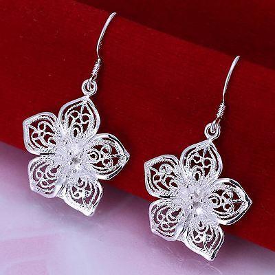 *UK* 925 SILVER PLT FILIGREE FLOWER DROP DANGLE HOOK EARRINGS ROSE PETALS HOLLOW