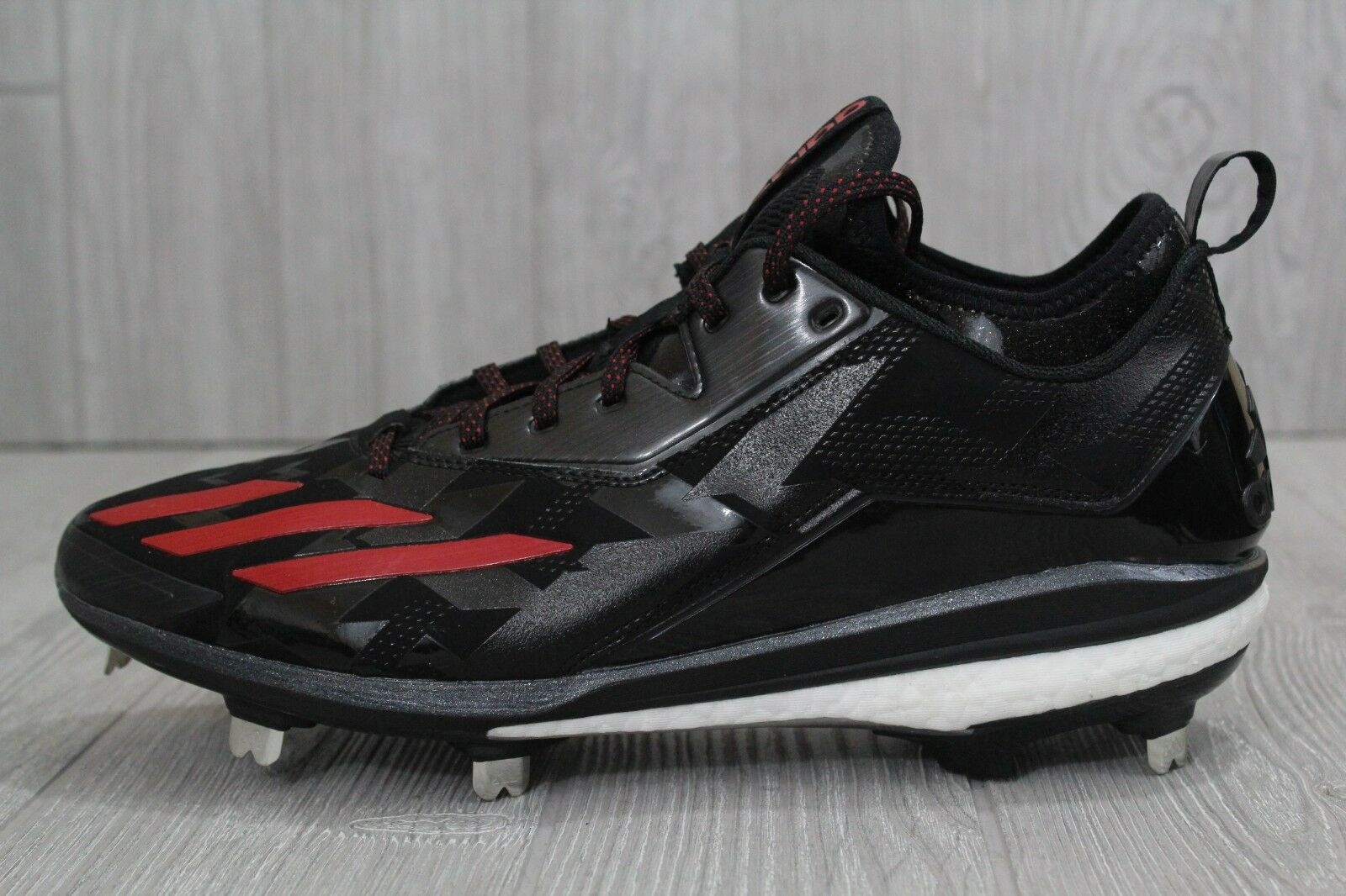 28 Mens Adidas Boost Icon 2.0 Metal Baseball Cleats Black Red Energy Q16525 11.5